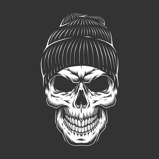Monochrome vintage skull in hipster hat Free Vector