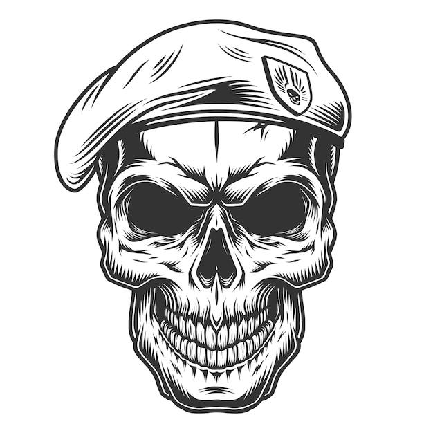 Monochrome vintage skull Free Vector