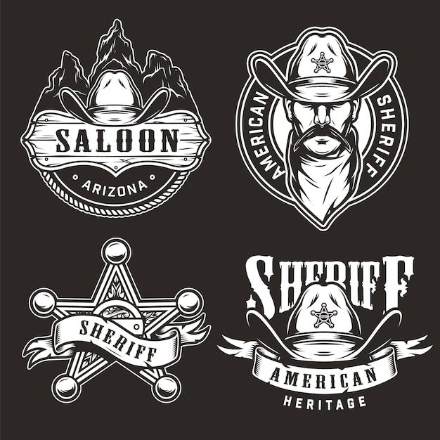 Monochrome wild west badges Free Vector