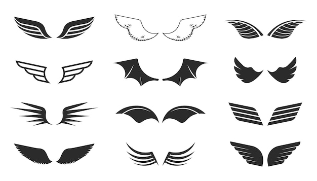 Monochrome wings set. flying symbols, black shapes, pilot insignia, aviation patch. vector illustrations collection isolated on white background Free Vector