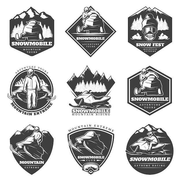 Monochrome winter sport extreme logos set Free Vector