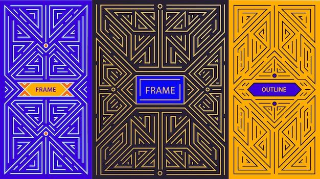 トレンディなヴィンテージとモノラインスタイルのモノグラムデザイン要素 Premiumベクター