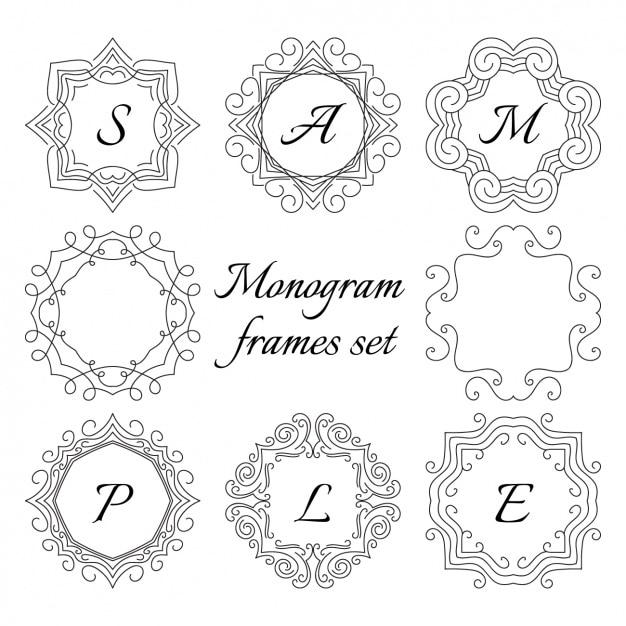 monogram frame set free vector - Monogram Frames