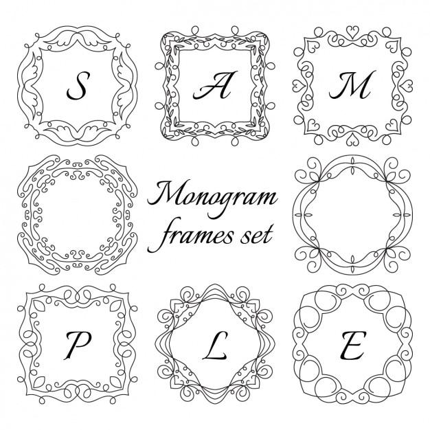 monogram frame set free vector - Monogram Frame