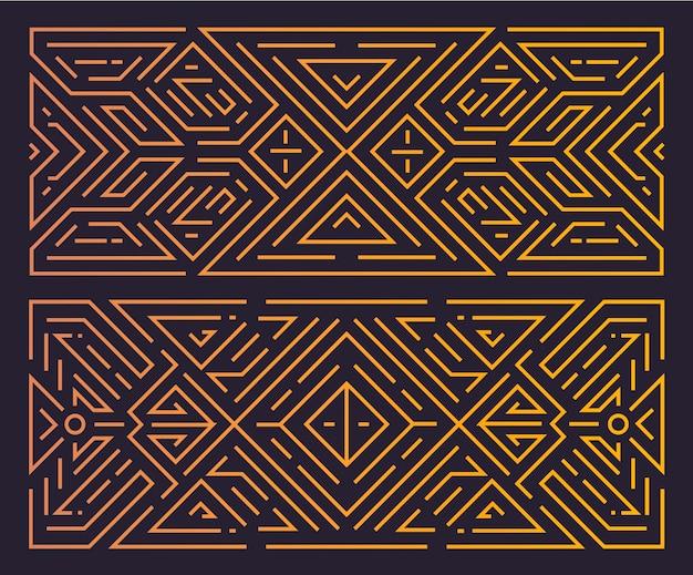 Monogram geometric art deco frame, golden linear background, vintage style.