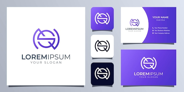 名刺テンプレートとモノグラム文字sとnのロゴ Premiumベクター