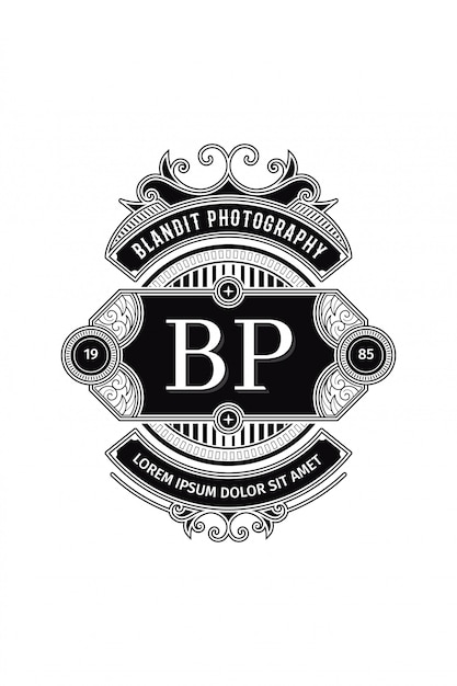 Monogram logo photography b-p Premium Vector