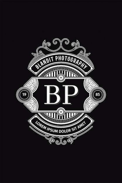 Monogram logo photography b-p Premium Vector