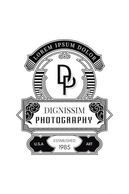 Monogram logo photography d-p Premium Vector