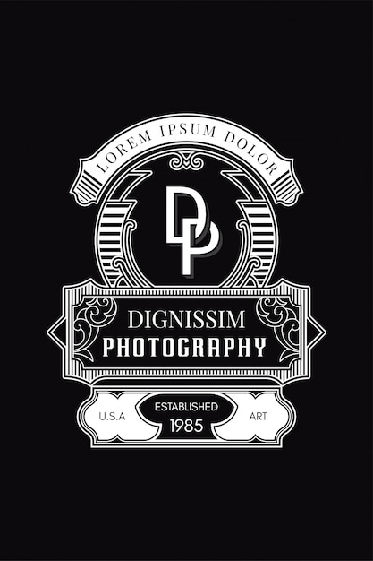 Monogram logo photography d-p Premium Vector