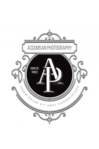 Monogram logo photography a-p Premium Vector
