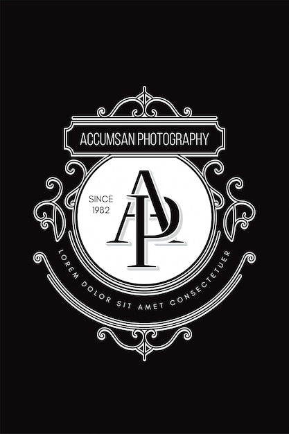 Monogram logo photography a-p Premium Vector