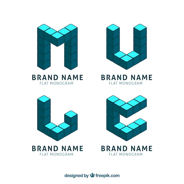 Monogram logos made of cubes