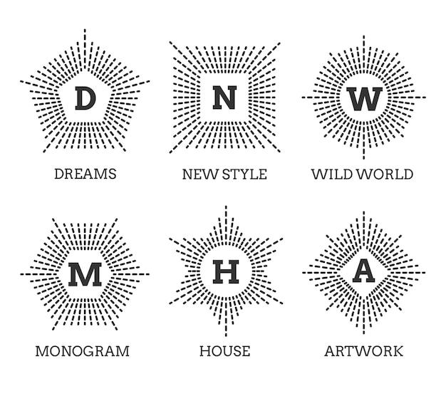Set di loghi monogramma. forma di esagono pentagono stella cerchio quadrato. Vettore gratuito