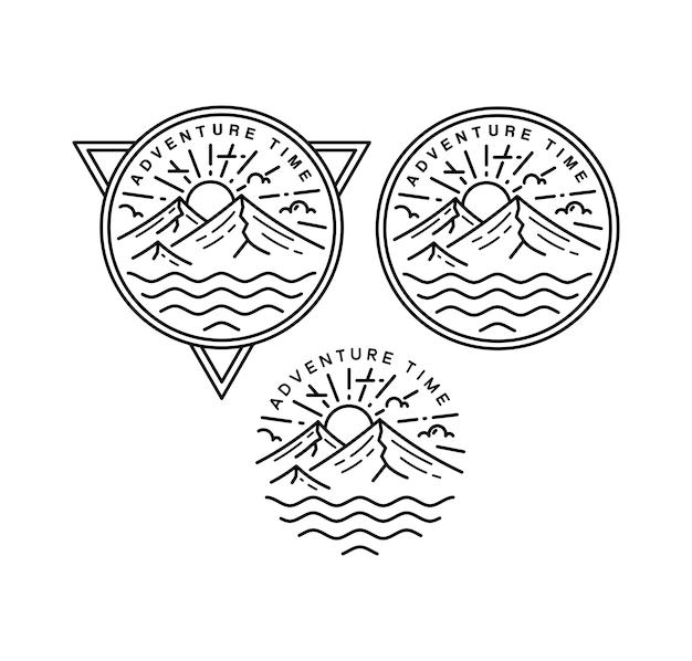 Время приключений винтажный дизайн monoline badge design Premium векторы
