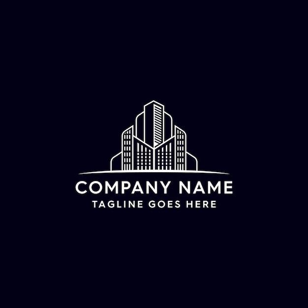 Монолайн здание логотип недвижимости Premium векторы