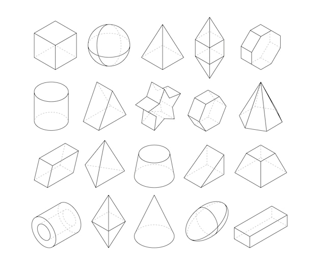 Monoline illustrations. frames of different geometry shapes. linear geometry figure polygon, octahedron and pyramid,  geometric cone and sphere Premium Vector
