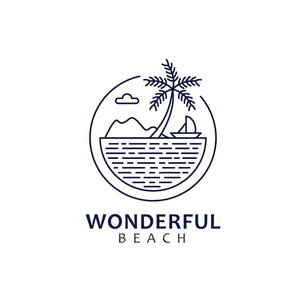 自然をテーマにしたビーチの景色を備えたモノラインのロゴデザイン Premiumベクター