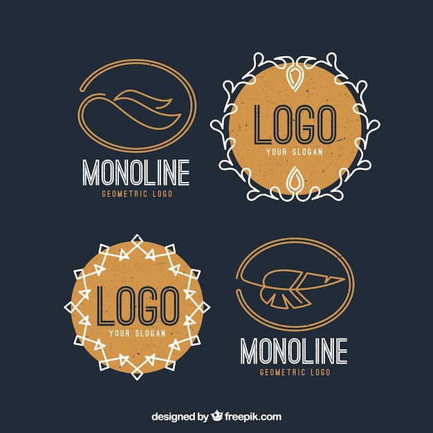 Monoline logo pack with feathers