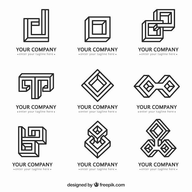 Monoline logos in geometric style