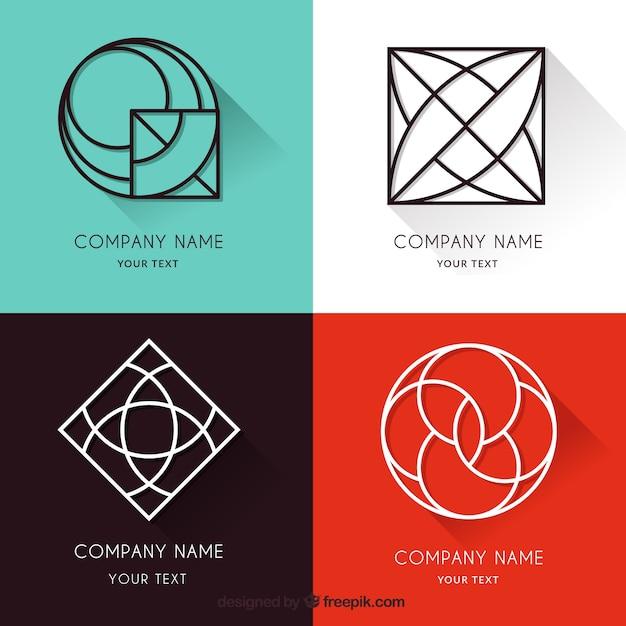 Коллекция логотипов monoline с тенями Бесплатные векторы