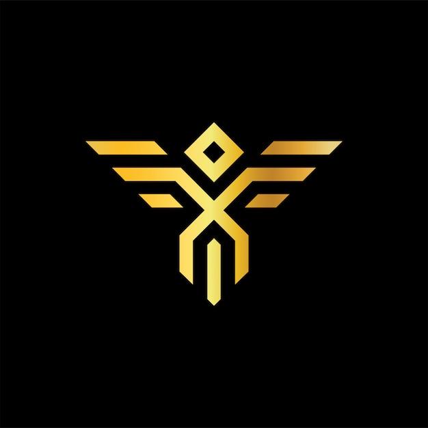 神話の鳥ゴールドmonolineアイコンのロゴ Premiumベクター