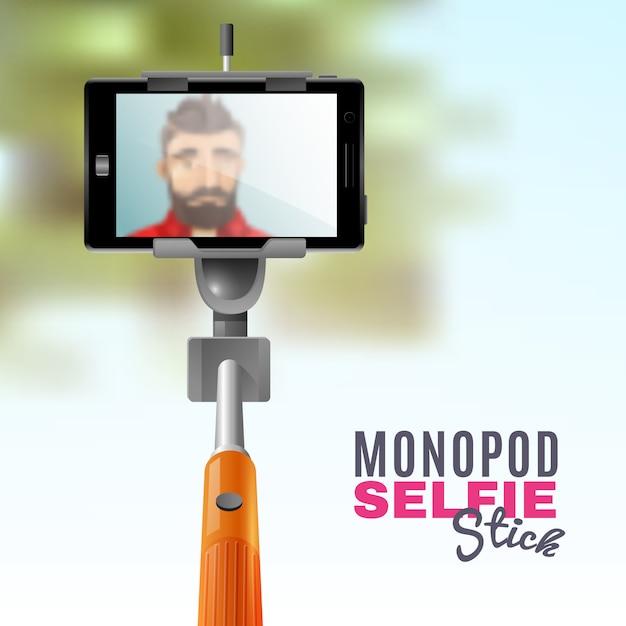 Monopod selfie illustration Free Vector