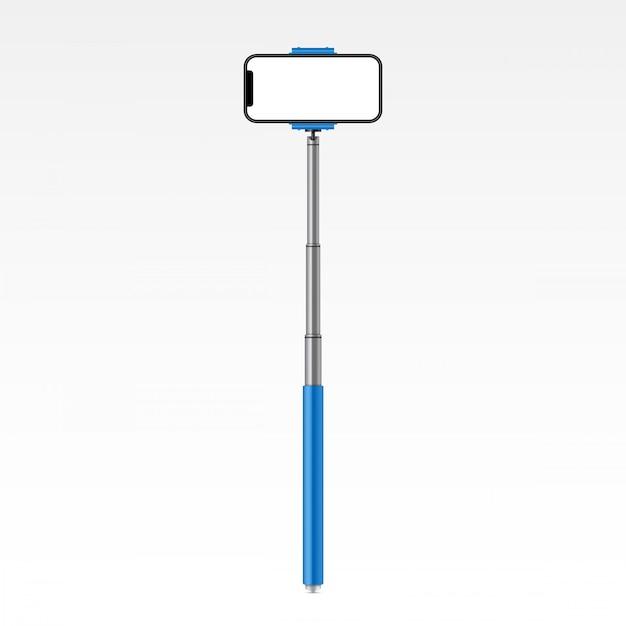Monopod selfie stick with phone, smartphone. Premium Vector