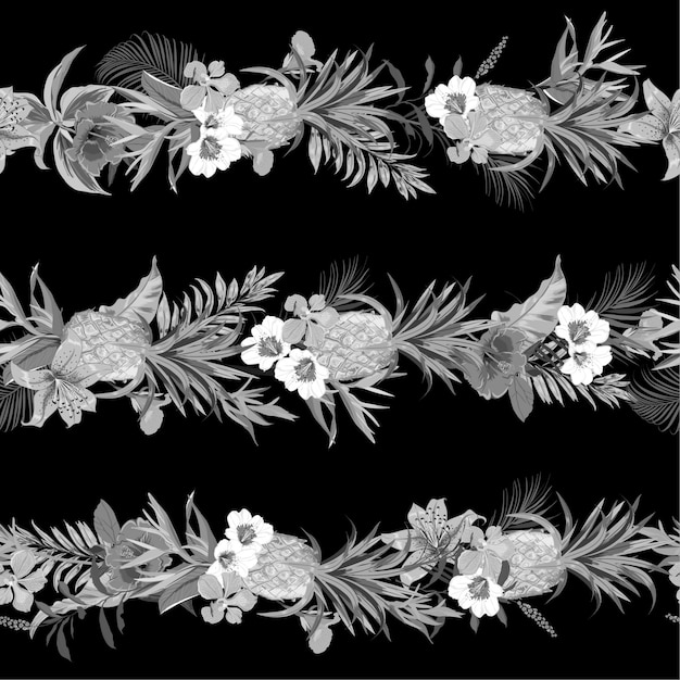 Monotone black and grey tropical exotic forest with blooming summer flowers Premium Vector