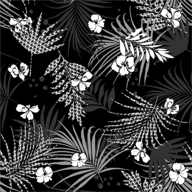Monotone black and white tropical seamless pattern Premium Vector