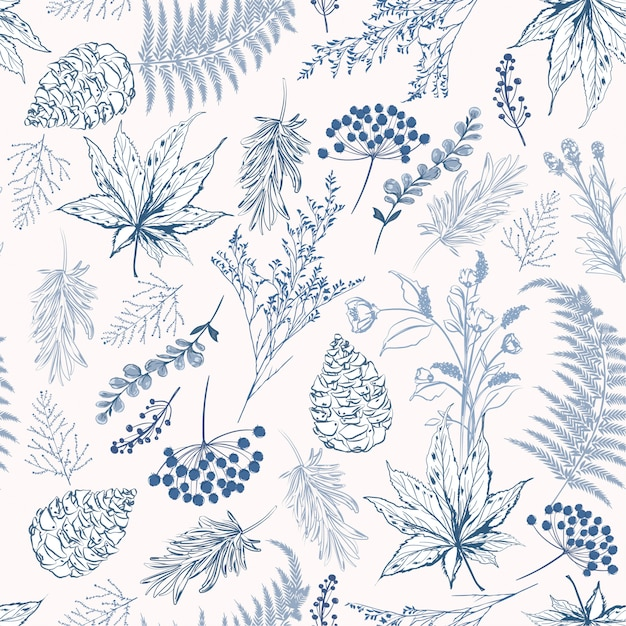 Monotone blue color seamless pattern vector illustrations Premium Vector