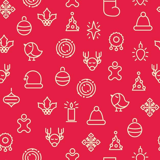 モノトーンメリークリスマスは、さまざまな種類のギフトやヒイラギのおもちゃでシームレスなパターンをシンボルします 無料ベクター