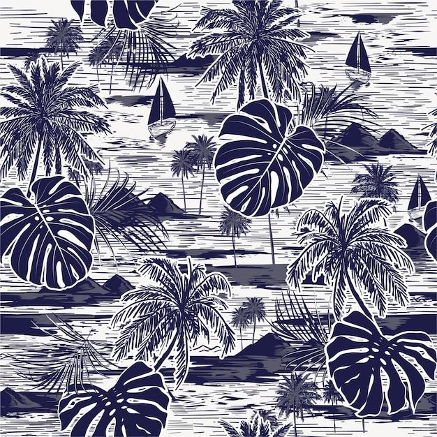 Monotone vector hand drawn on navy blue seamless island pattern Premium Vector