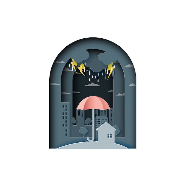 Monsoon backgroud with umbrella and city Premium Vector