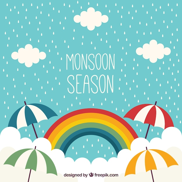 Monsoon background with rainbow vector free download for Monsoon de
