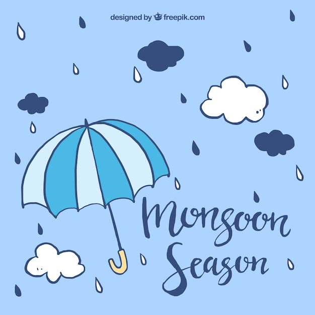 Monsoon background with umbrella and hand drawn clouds