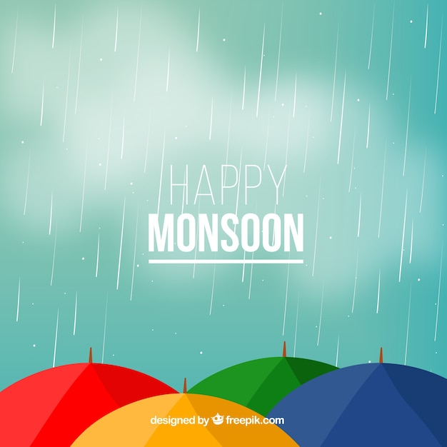 Monsoon background with umbrella Free Vector