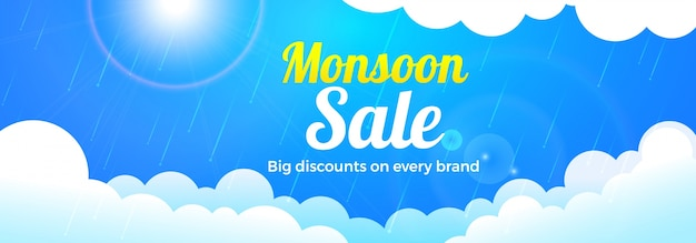 Monsoon sale banner design with clouds. Premium Vector