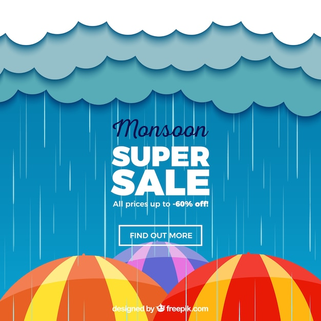 Monsoon sale composition with flat design Free Vector