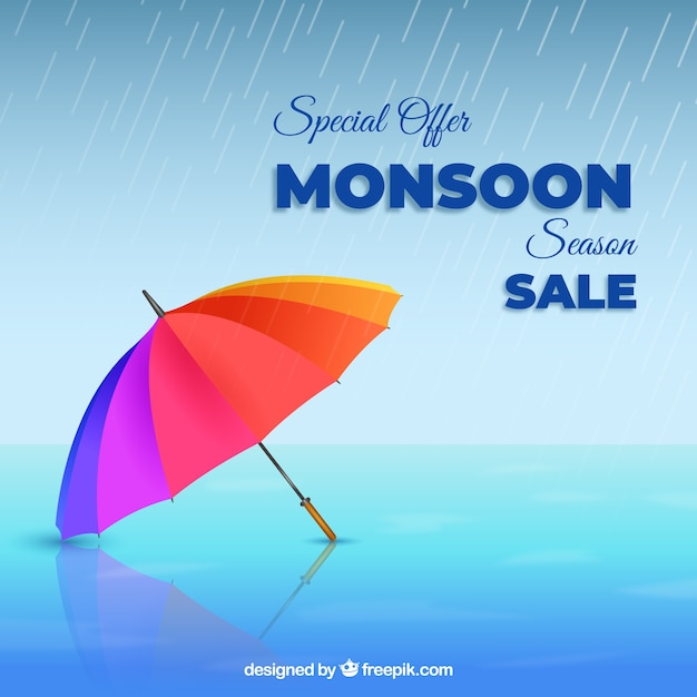 Monsoon sale composition with realistic umbrella Free Vector