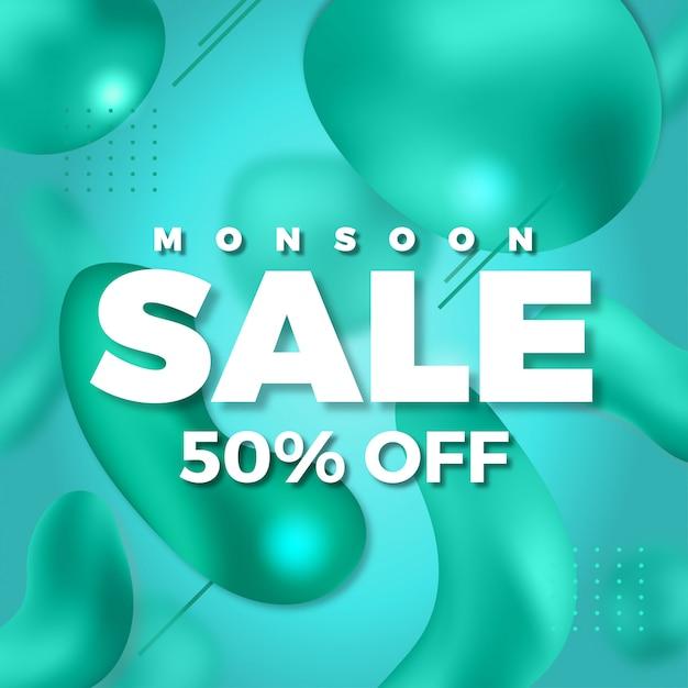 Monsoon sale liquid abstract background Premium Vector