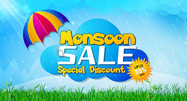 Monsoon sale with flat discount offer on fashion collection Premium Vector