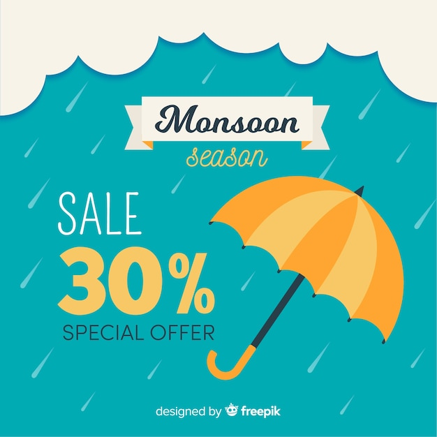Monsoon sales background with umbrellas Free Vector