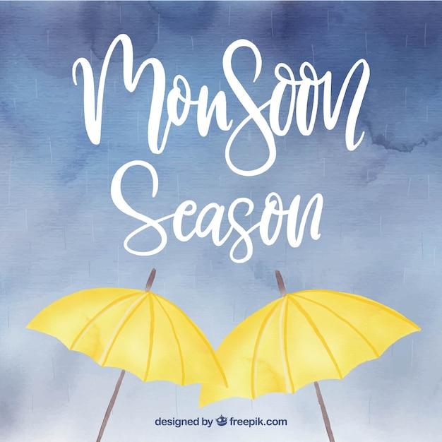 Monsoon season background in watercolor\ style