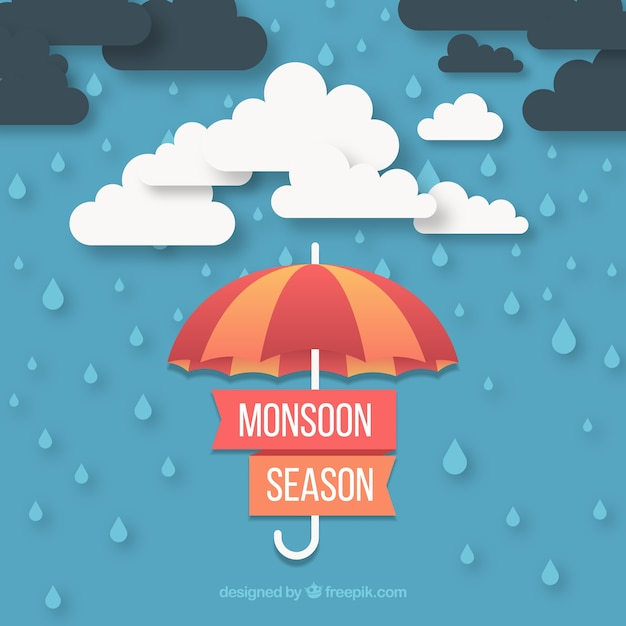Monsoon season background with clouds and\ umbrella