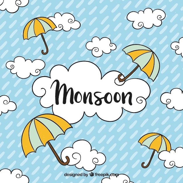 Monsoon season background with clouds and\ umbrellas