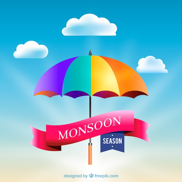 Monsoon season background with colorful\ umbrella