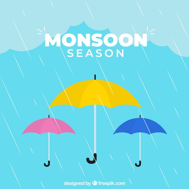 Monsoon season background with colorful umbrellas Free Vector
