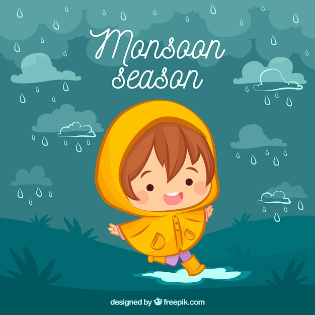 Monsoon season background with cute kid Free Vector