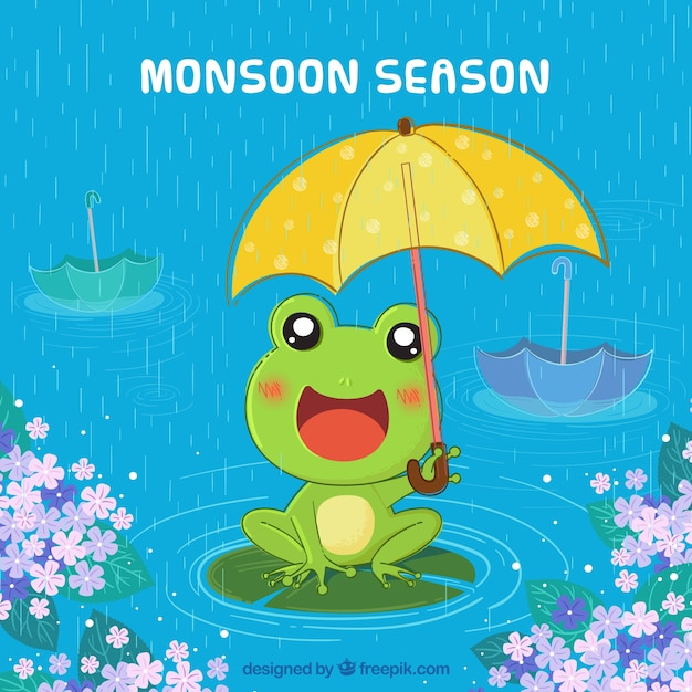 Monsoon season background with frog Free Vector